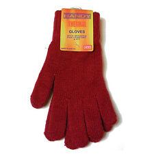 donna Rosso colore termico invernale, a Maglia Stretch Guanti - NUOVO