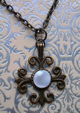 VICTORIAN STEAMPUNK BRONZE TONE NECKLACE WITH MOTHER OF  PEARL INLAID PENDANT