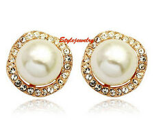 18k Gold Filled Women Crystal Round 10mm White Pearl Stud Earring XE54