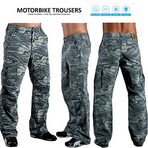 Mens Cargo Combat Trousers Reinforced Protective Pants Denim Camo Armour Jeans