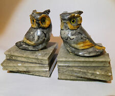 Pair of vintage Italian hand carved alabaster stone owl on book figure bookends
