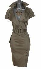 Karen Millen Khaki Military Safari Shirt Trench Casual Pencil Dress UK 10  EU 38