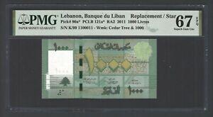 Lebanon 1000 Lira 2011 P90a* Replacement Binary-Radar-Rotator UNC Grade 67