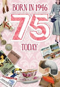 1946 Year You Were Born Greeting Card for Her with Facts Inside - Age 75