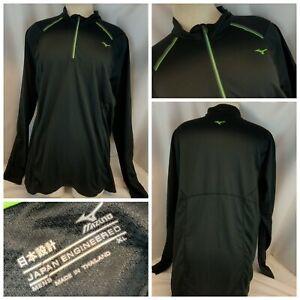 Mizuno Running Pullover XL Men Black ¼ Zip Poly Japan Engineered YGI C0-346