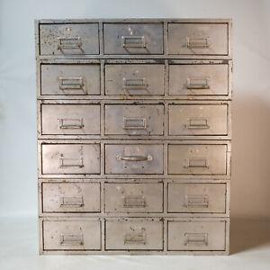 Beautiful Vintage Metal 6 Piece 18 Drawer Metal Card Catalog Industrial Modern