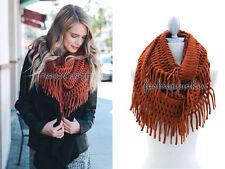 RUST FRINGE INFINITY Scarf Circle Crochet Knit Long Warm Eternity BOHO New