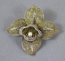 Broche argent-plaqué or perle Original Fahrner Art deco brooch sterling-gilded