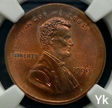 1999 MULTI STRUCK BROADSTRUCK LINCOLN CENT ERROR NICE COIN NGC MS65 RB