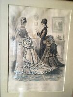 Antique Framed Sepia Engraved Fashion Print 1874 Godey's Paris French France