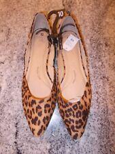 Time and Tru Women's Leopard Print Pointed Toe Memory Foam Flat Dress Shoes