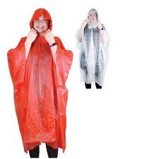 1 x Re-Usable Poncho Hood Matching Bag Colourful Plastic Adult Light Unisex Rain