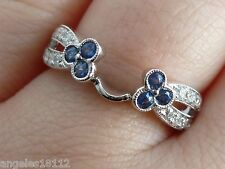 Enhancer Ring Band White 14K Gold 7 New 0.7ct Diamond & Sapphire Solitaire Guard