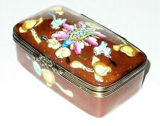 Limoges Box ~ Chamart ~ Floral Stamp Box ~ Flowers ~ Top Signed ~ Decor Main