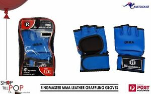 RINGMASTER MMA LEATHER GRAPPLING GLOVES  BNWT BLUE ADULT Large -XL FITNESS  BLUE
