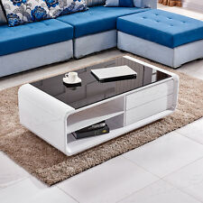 High Gloss Coffee Table Black Tempered Glass Top With 2 Storage Drawers Shelves