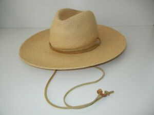 J PETERMAN COMPANY Brown Woven WIDE BRIM STRAW HAT Summer Sun Hike Cap Sz SMALL