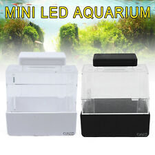 Mini Fish Tank for Amphibious Pet Usb power supply White/Black Led Natural light