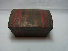 Small Antique German Folk Art Hand Carved Wood Box Poker Work #D