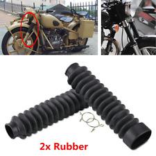 2Pcs 13 Knots Motorcycle Rubber Front Fork Dust Cover Gaiters Gators Boots Black