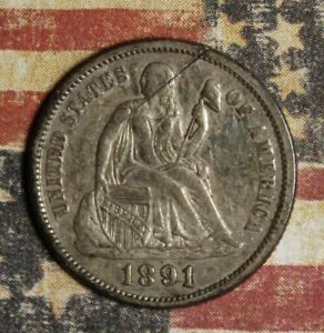 1891 SEATED LIBERTY DIME COLLECTOR COIN, FREE SHIPPING