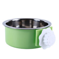 Pet Dog Cat Puppy Stainless Steel Hanging Food Bowl Water Feeder Crate Cage DB