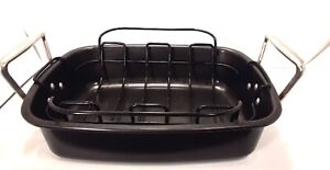 """Anodized Roasting Pan w/ Removable Rack 16"""" x 12"""" Non Stick Roaster & Grate"""