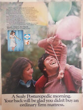 1973 Sealy Posturepedic Bed Mattress Little Boy Balloons Color Original Ad