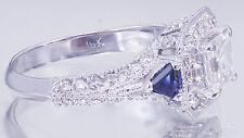 18k white gold asscher cut diamond engagement ring halo deco 1.75ct H-VS2 EGL US