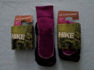 2 PAIR OUT DOOR 60% MERINO WOOL HIKING WALKING SOCKS ICEBREAKER Small & medium