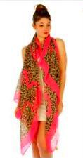 Large Neon Pink Border Leopard Print Scarf Rectangle Sarong Shawl Cheetah