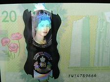 "2015 $20 Dollar Bank of Canada Banknote ""Young Queen"" Holographic GUNC #FWT Bill"