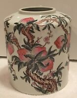 The Most Exquisite Porcelain Hand Painted Peach Tree Vase, Marked / Stamped