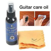 60ML Guitar String Maintenance Cleaner Polish Spray Oil With Cleaning Cloth