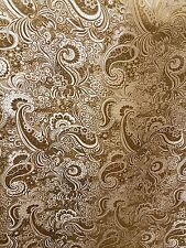 "3M GOLD /WHITE COLOUR PAISLEY BROCADE /JACQUARD FABRIC 58"" WIDE"