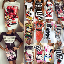 Damen Mickey Minnie Mouse Slim Fit Bodycon Bleistiftkleid Casual Party Langshirt