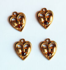 VINTAGE 4 AGED BRASS HEART & BOWS RUBY RED RHINESTONE STAMPING PENDANTS 15mm