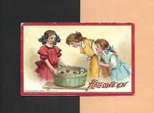 CHILDREN BOB FOR APPLES On Colorful TUCK Vintage Unused HALLOWEEN Postcard