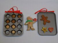 Gingerbread Man Cookies Baking Tins Christmas Baker Holiday Ornament Set 3 Lot