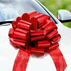Big Car Bow, Gift Bows, Birthday Bow, Christmas Bows for Cars (Red) - 1 pack