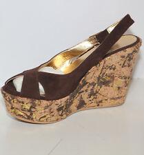 Sandalo zeppa donna Extreme size 36 camoscio marrone plateau tacco alto