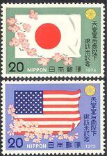 Japón 1975 banderas nacionales/flores/visita a Estados Unidos por el emperador Hirohito 2 V Set n25325