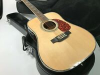 Solid Top 12 Strings Electric Acoustic Guitar Abalone Inlay Bone Nut And Saddles