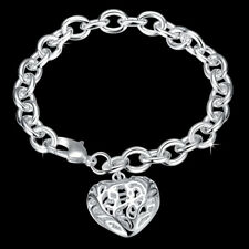 Classic 925 Sterling Silver Filled Filigree Heart Charm Bracelet Bangle
