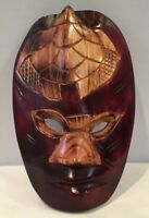 """VTG Hand Carved Wood Mask 9-1/2"""" Tall x 6"""" Wide Made In Australia Great Detail"""