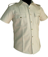 Mens White Cow Leather Police Uniform Shirt Very Hot Genuine Real Shirt BLUF GAY