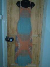 River Island Blue & Peach Multi Strappy Maxi Dress Ruched Waist - Size 6