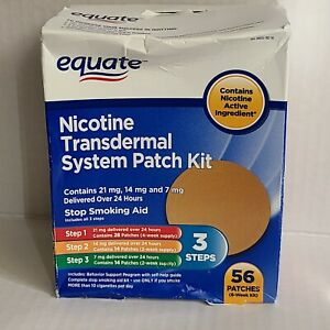 56 Patches Equate Nicotine Transdermal System Steps1, 2 & 3 - Exp 2/2022