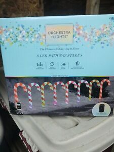 Gemmy Orchestra of Lights 8-Marker Color Changing Candy Cane Christmas Pathway M
