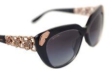 BVLGARI 8162-B-F 5383/8G Ladies Womens CAT EYE JEWEL Sunglasses BLACK GOLD GREY